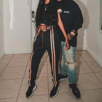 Спортни дамски широки панталони с ленти, в черен цвят