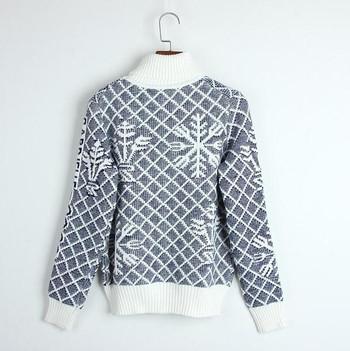 Топъл дамски пуловер с поло яка и принт