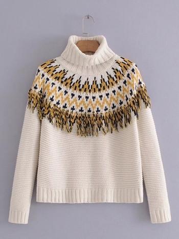 Ежедневен зимен дамски пуловер с поло яка и цветни мотиви