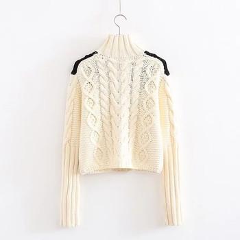 Топъл плетен дамски пуловер с поло яка