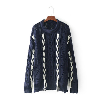 Ежедневен зимен дамски пуловер в два цвята