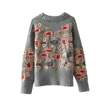 Дамски зимен пуловер с флорална бродерия, в сив цвят