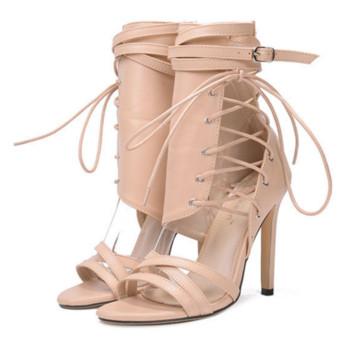 Модерни дамски сандали на висок ток с вързки от еко кожа, в два цвята