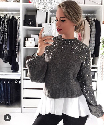 Дамски широк пуловер с декорация мъниста