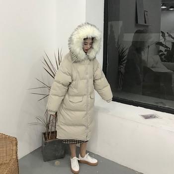 Дълго зимно дамско яке в два цвята с качулка и пух