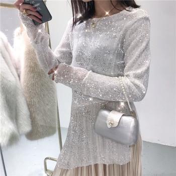 Стилен лъскав дамски пуловер