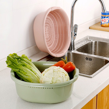Двойна пластмасова кошница за удобно и лесно измиване на плодове и зеленчуци