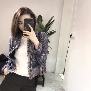 Тънко вълнено дамско яке с ресни