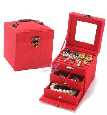 Много красива дамска кутия за бижута - тристепенна(4 цвята)