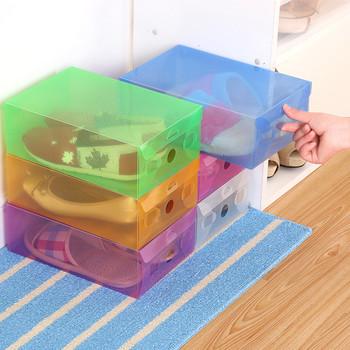 Лесно слгобяема прозрачна кутия за съхранение на обувки