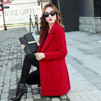 Стилно дамско палто с V-образна яка в различни цветове