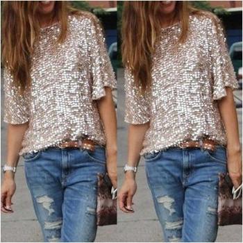 Модерна дамска блуза с декоративни пайети