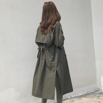 Άνοιξη-φθινόπωρο μακρύ γυναικείο μπουφάν σε δύο χρώματα