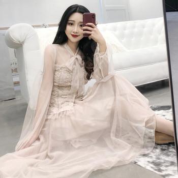 f6d67048b44b Γυναικείο καλοκαιρινό δαντελωτό πουκάμισο με φαρδύ μανίκι σε δύο χρώματα