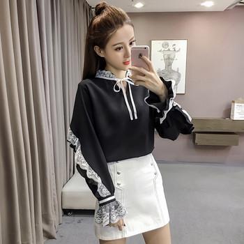 4d68e4dc4d87 Μοντέρνο γυναικείο πουκάμισο σε μαύρο και άσπρο με δαντέλα στα μανίκια και  το γιακά