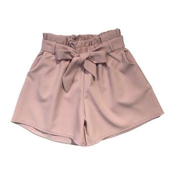 Елегантни дамски къси панталони с висока талия и колан с панделка в няколко цвята