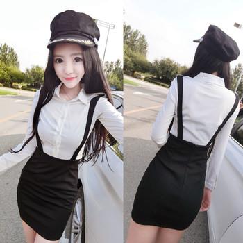 6dca344f1a2c Κομψό πουκάμισο με δύο μέρη + φούστα με ψηλή μέση και τιράντες ...