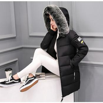 Дамско бяло яке с качулка и бял пух