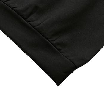 Спортен дамски екип от две части с цветна бродерия-блуза+панталон в черен цвят