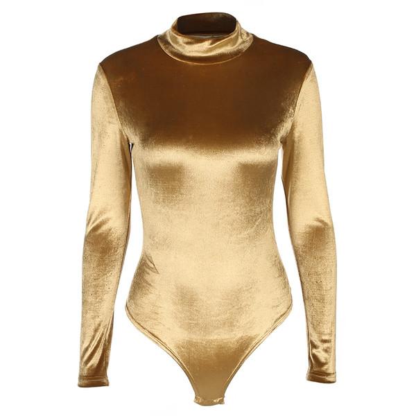 ad2ba0f743c Γυναικείο κορμάκι σε χρυσό χρώμα με μακριά μανίκια και κολάρο - Badu.gr Ο  κόσμος στα χέρια σου