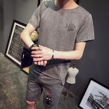 Ежедневен мъжки костюм с мини апликации от две части - блуза с къс ръкав и къс панталон