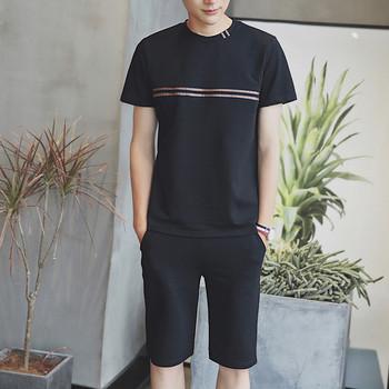 Спортно - ежедневен мъжки комплект от две части - къс ръкав и къс панталон - 4 цвята