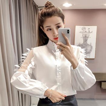 39aa64657fa1 Μοντέρνο γυναικείο πουκάμισο με δαντέλα και φτερά σε λευκό και μπλε χρώμα