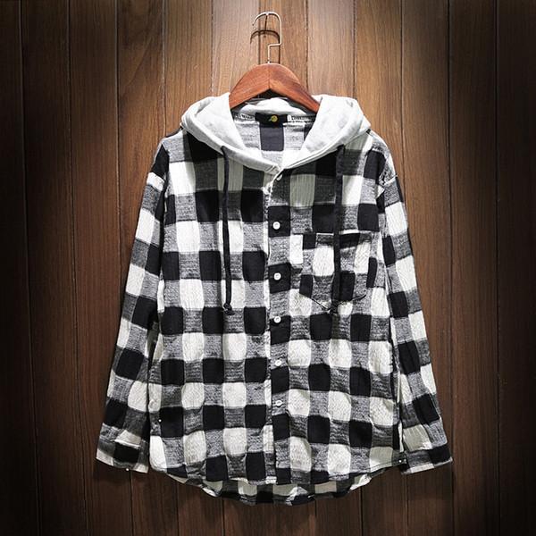 Ανδρικό πουκάμισο με μακριά μανίκια και κουκούλα σε δύο χρώματα - Badu.gr Ο  κόσμος στα χέρια σου 05ad421f454
