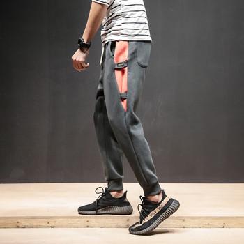 Мъжки спортен панталон в два цвята с цветни ленти