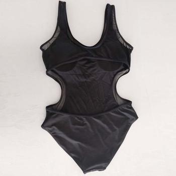 Цял дамски бански костюм с гол гръб и прозрачни мотиви