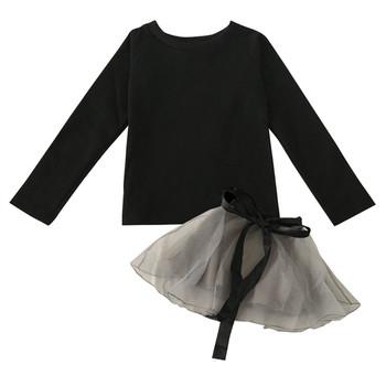 Детска елегантна рокля от две части с тюлена пола и панделка около талията