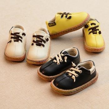 Стилни детски обувки за момчета с връзки от еко кожа в три цвята