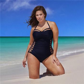 Цял бански костюм за дамите с кръстосани връзки в черен и тъмно син цвят с размери до 4XL