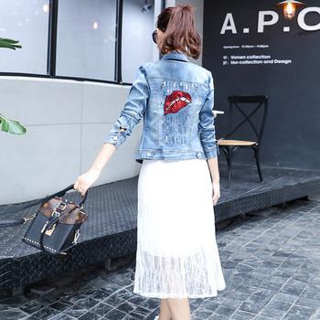 Γυναικείο τζιν σακάκι με πούλιες