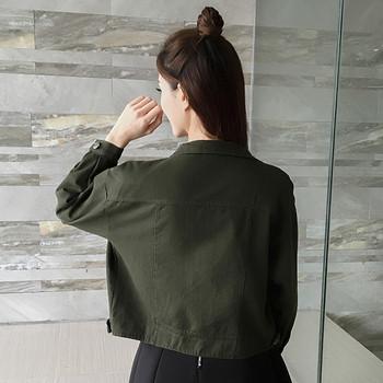 Μοντέρνο γυναικείο τζιν μπουφάν σε διάφορα χρώματα με φούντες