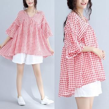 Дамска карирана риза широк модел в два цвята с 3/4 ръкав