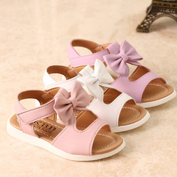 Модерни детски сандали за момичета с панделка в три цвята