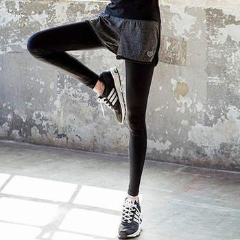 Спортен дамски клин с висока талия в два модела с имитация къси панталони