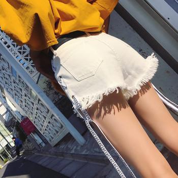 Къси дамски дънки в три цвята с кръстосани връзки
