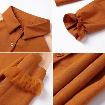 Μοντέρνο γυναικείο πουκάμισο με μακριά μανίκια με διαφανείς ώμους σε διάφορα  χρώματα fce2d0f6419