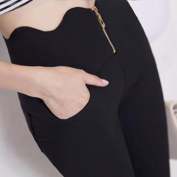 Стилен дамски клин с висока талия с асиметрична дължина в черен и бял цвят