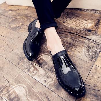 Екстравагантни мъжки обувки - черен лак със златно