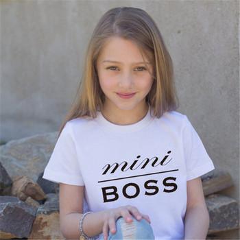 Детска унисекс тениска с надпис и къс ръкав