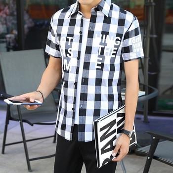 Ανδρικό πουκάμισο με κοντό μανίκι σε δύο εκδόσεις - με ή χωρίς επιγραφή στο  μπροστινό μέρος 422f427c064