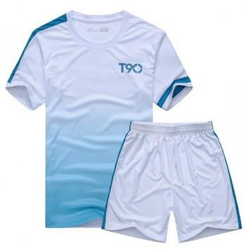 Спортен мъжки комплект от две части-тениска+къси шорти с преливащи цветове в няколко цвята