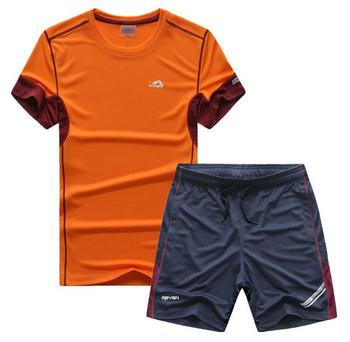 Модерен мъжки спортен екип от две части-тениска+къси шорти в няколко цвята