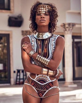 Стилен и раздвижен дамски бански костюм - цял, в етно мотив