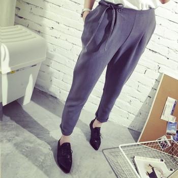 Дамски ежедневен панталон с еластична талия и връзки