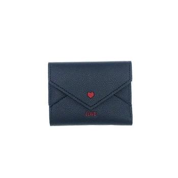 Κομψό γυναικείο πορτοφόλι με μίνι καρδιά και επιγραφή δύο χρωμάτων