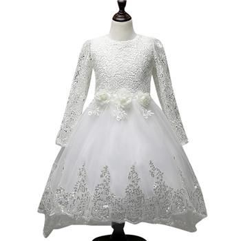 Модерна дълга рокля тип принцеса с декорация от пайети и панделка на гърба в три цвята
